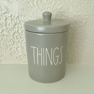 Rae Dunn Gray THINGS Small Canister NWT